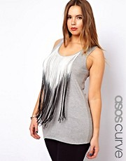 ASOS CURVE Exclusive Vest With Dip Dye Fringing