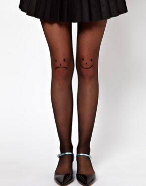 Image 1 ofASOS Happy/Unhappy Knee Opaque Tights