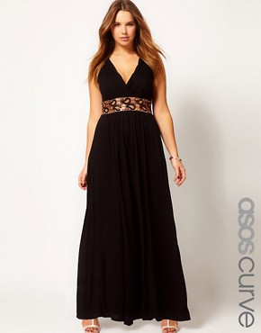 Image 1 ofASOS CURVE Maxi Dress With Embellished Waist