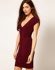 French Connection Body Con Dress With Contrast Zip