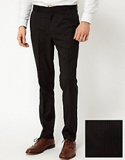 Pantalones de vestir de corte slim con rayas finas de ASOS