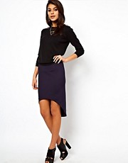 ASOS Pencil Skirt in Scuba with Curved Hem