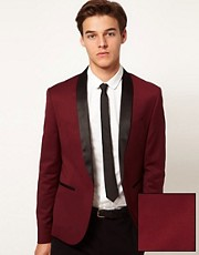 ASOS Skinny Fit Tuxedo Suit Jacket in Burgundy Polywool