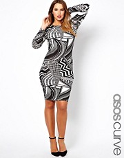 ASOS CURVE Exclusive Bodycon Dress in Mono Print