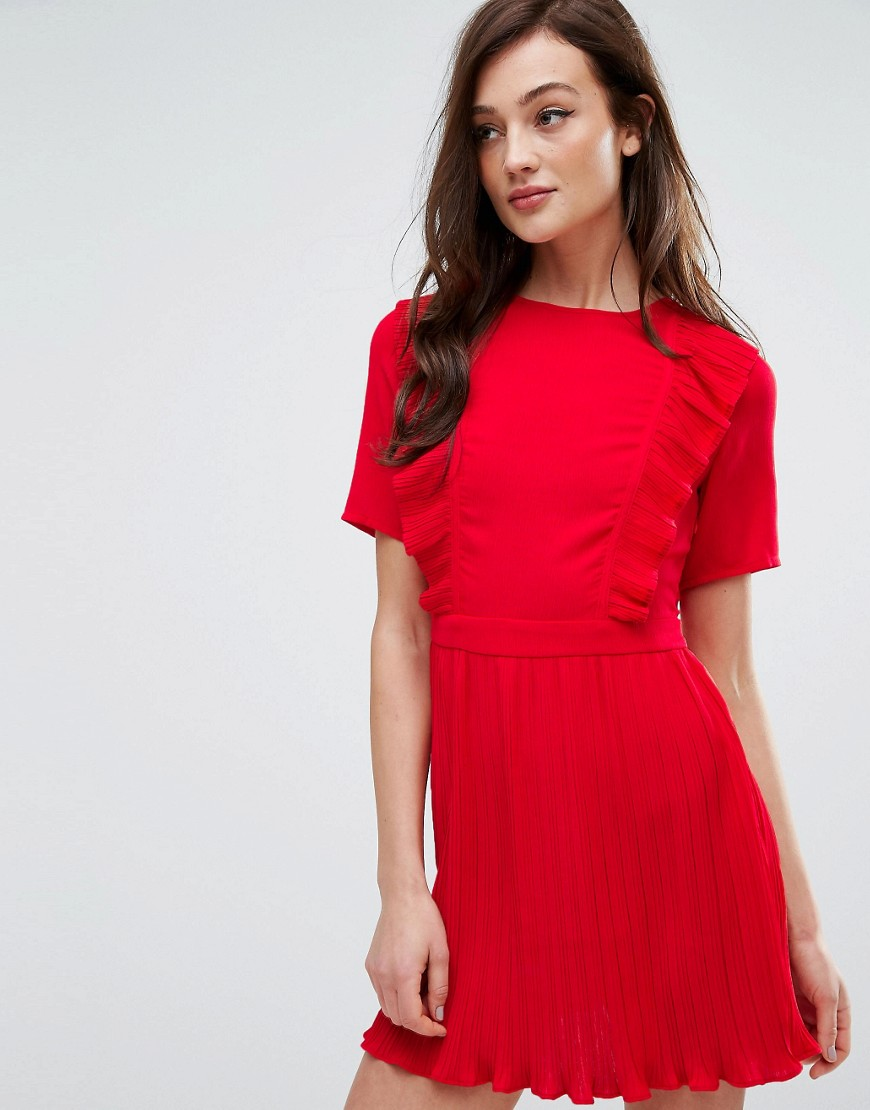 Fashion Union Dress With Ruffles & Pleat Detail