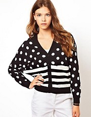 White Chocoolate Stripe &amp; Spot Mix Cardigan