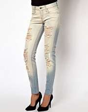 Mango Bleach Wash Distressed Skinny Jean