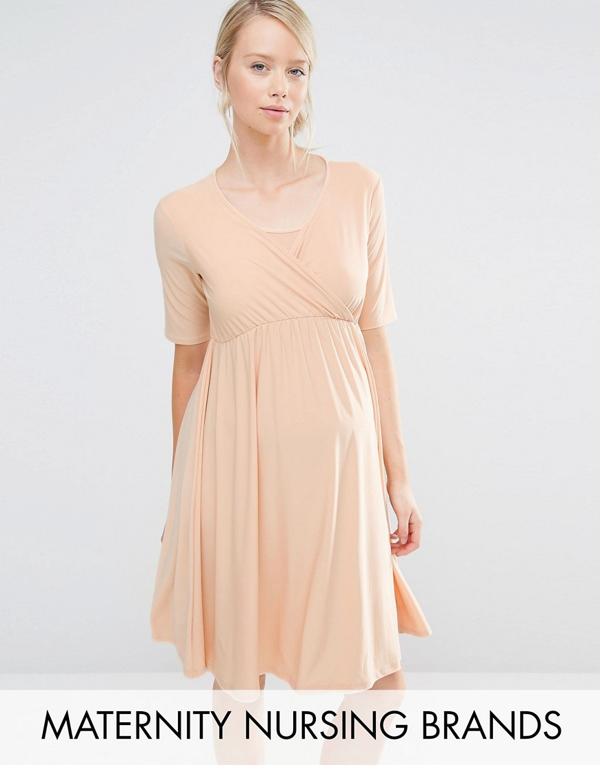Bluebelle Maternity Nursing Wrap Dress - Beige