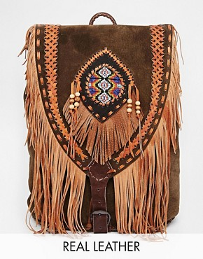 Hiptipico Moza Fringed Hand Crafted Leather Backpack