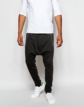 ASOS Drop Crotch Joggers With Zip Detail