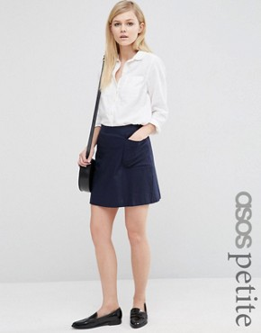 ASOS PETITE A-Line Linen Skirt with Pocket Detail