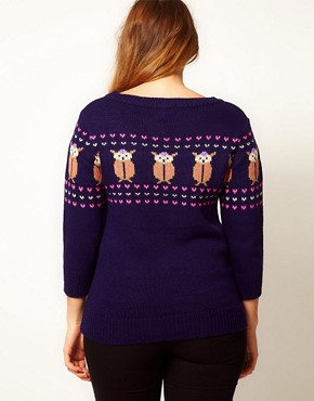 Image 2 ofASOS CURVE Exclusive Owl Jumper