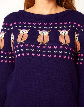 Image 3 ofASOS CURVE Exclusive Owl Jumper
