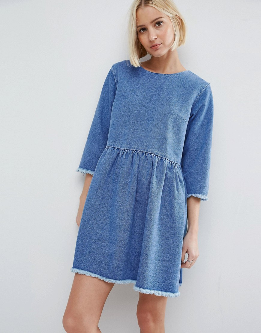 ASOS Denim Smock Dress in Midwash Blue - Blue