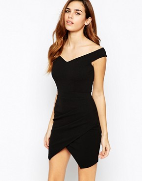 TFNC Bardot Body-Conscious Dress With Asymmetric Skirt