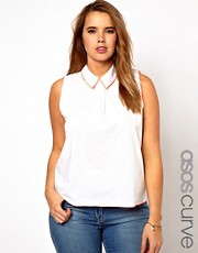 ASOS CURVE Exclusive Shirt With Contrast Stitch Detail