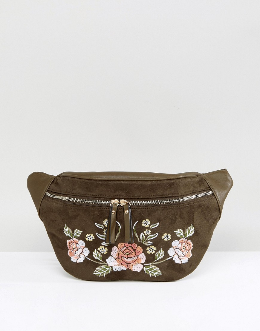 New Look Festival Embroidered Fanny Pack - Green