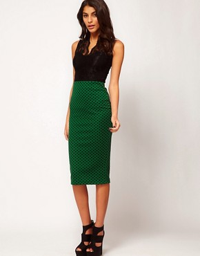 Image 1 ofASOS Ponte Pencil Skirt in Flocked Spot Print