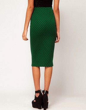 Image 2 ofASOS Ponte Pencil Skirt in Flocked Spot Print