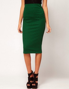 Image 4 ofASOS Ponte Pencil Skirt in Flocked Spot Print
