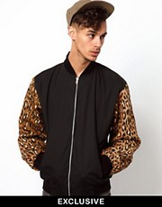 Reclaimed Vintage Varsity Jacket with Leopard Print Sleeves