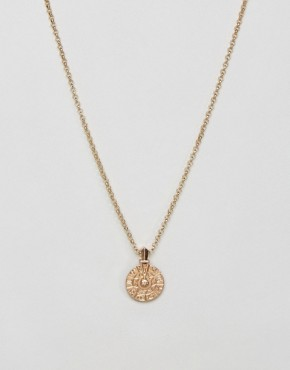 ASOS Necklace With Spinning Wheel Charm In Gold