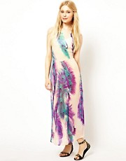 Jovonnista Feather Print Maxi Dress With Lace Back