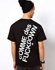 Comme Des F Down T-Shirt with Back Print