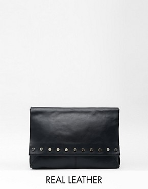 ASOS Unlined Leather Fold Over Clutch Bag with Studs