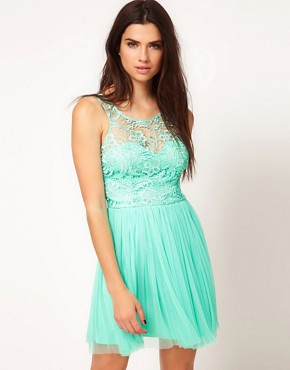 Image 1 ofLipsy Lace &amp; Mesh Skater Dress