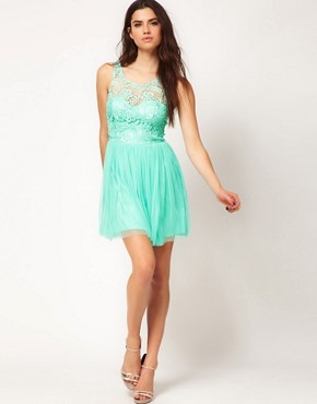 Image 4 ofLipsy Lace &amp; Mesh Skater Dress