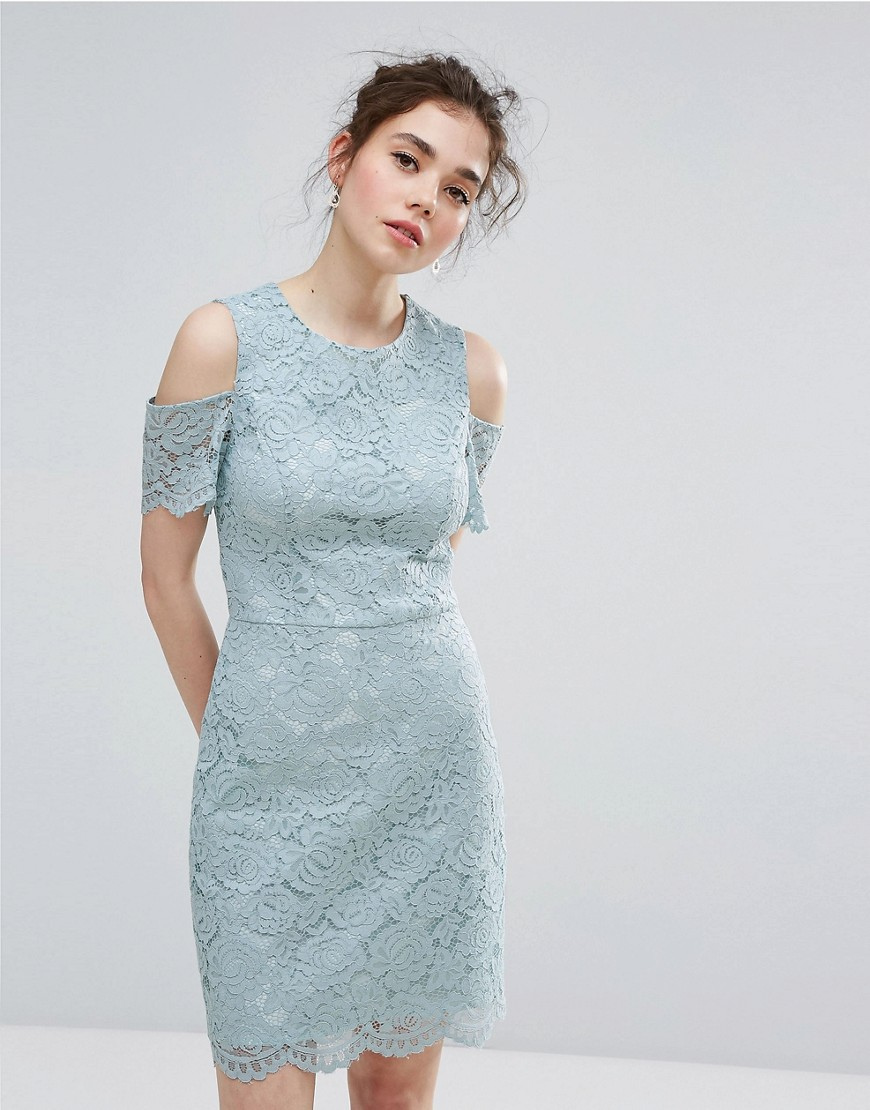 Oasis Floral Lace Cold Shoulder Mini Dress - Green