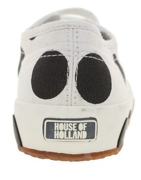 Image 2 ofSuperga House of Holland Collaboration Black &amp; White Dot Plimsolls