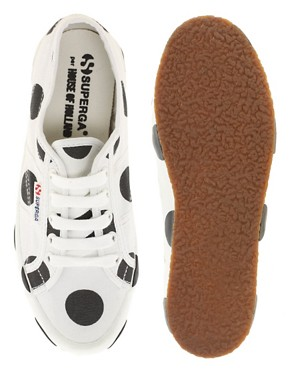 Image 3 ofSuperga House of Holland Collaboration Black &amp; White Dot Plimsolls