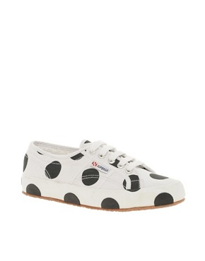 Image 1 ofSuperga House of Holland Collaboration Black &amp; White Dot Plimsolls