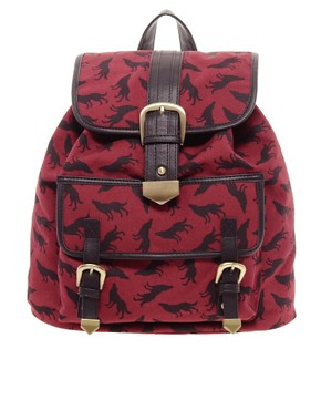 Image 1 ofASOS Wolf Print Backpack