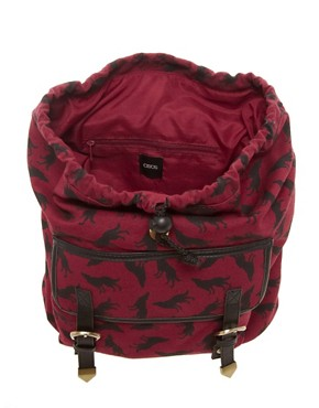 Image 2 ofASOS Wolf Print Backpack