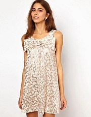 Lashes Of London Swing Dress With Sequin Lace Bow