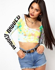 The Ragged Priest Long Sleeve Crop T Shirt in Tie Dye