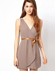Wal G Wrap Detail Dress With Belt