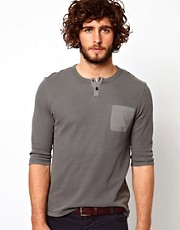 ASOS 3/4 Sleeve T-Shirt With Grandad Neck And Waffle Jersey