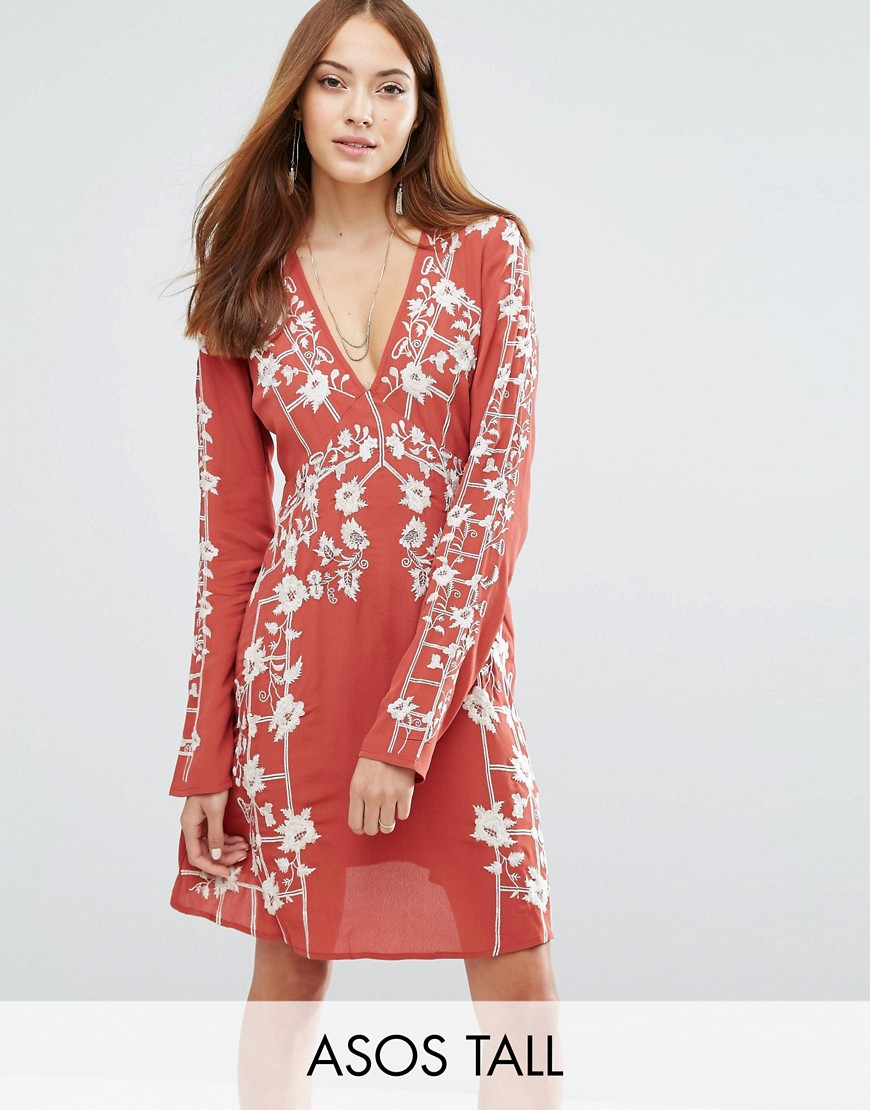 ASOS TALL Swing Dress With Embroidered Trims - Multi