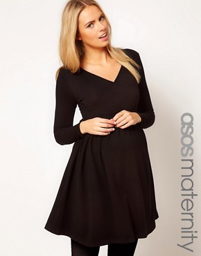 Image 1 ofASOS MATERNITY Wrap Dress with 3/4 Sleeve