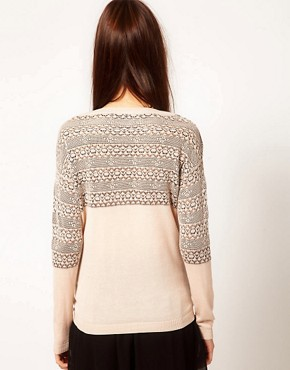 Image 2 of Warehouse Floral Lace Stripe Sweater