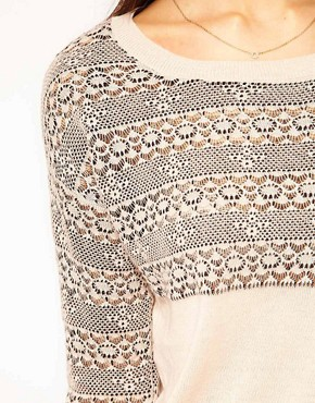 Image 3 of Warehouse Floral Lace Stripe Sweater