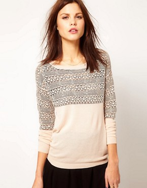 Image 1 of Warehouse Floral Lace Stripe Sweater