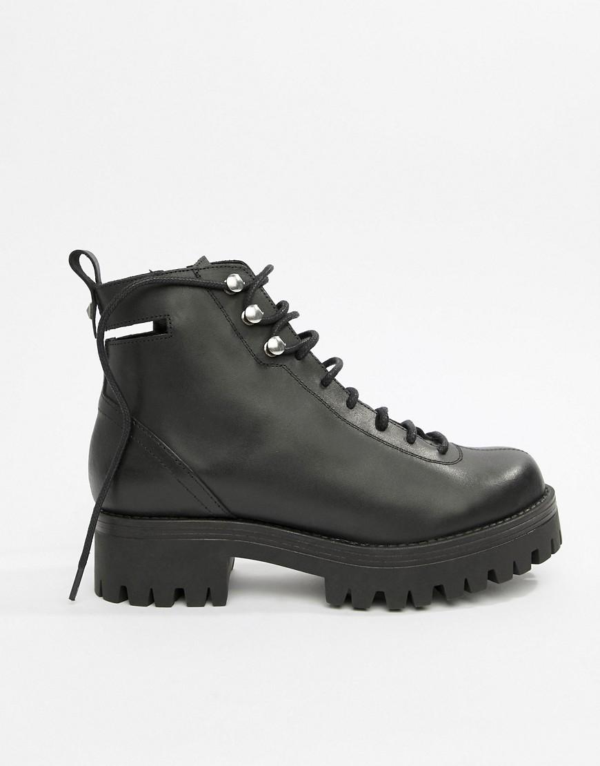 asos design - Premium - Rivalry - Ankle-Boots aus Leder mit Schnürung und dicker Sohle - Schwarz
