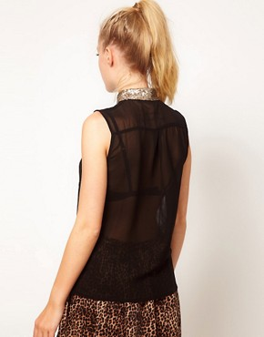 Image 2 ofGlamorous Sequin Collar Sleeveless Shirt