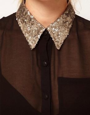 Image 3 ofGlamorous Sequin Collar Sleeveless Shirt