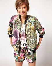 Maison Scotch Jungle Print Bomber Jacket